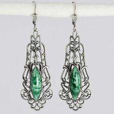 Grevenkämper Ohrring Silber Glasstein Navette Verzierung Vintage Retro grün Jade