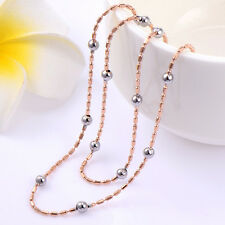 Silver Beads Rose Gold Filled Thin Chain Long Necklace Womens 18inch