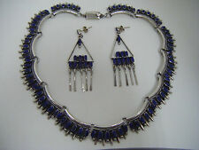GORGEOUS SET ~ TC-290 Mexico Blue Lapis Choker/Necklace and matching earrings