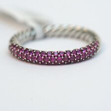 NWT DAVID YURMAN Small Color Pave Pink Sapphire Band Cabled Silver Ring 7