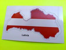 LATVIA Flag & Map Motorcycle Helmet Van Car Bumper Sticker Decal 1 off 80mm