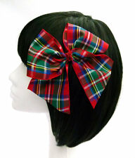 Tartan Hair Bow Large Red Glitter Girl Rockabilly Pinup Retro Christmas Xmas