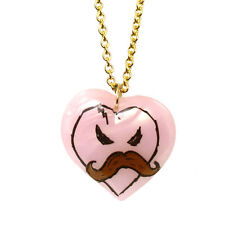 "NEW Tarina Tarantino X KidRobot Pink ""I LOVE MUSTACHE"" Heart Necklace -SALE"