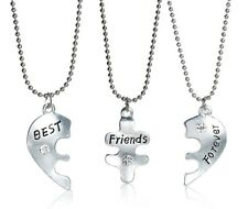"""Set THREE Necklaces Pendant Broken Heart Crystal """"BEST Friends Forever"""" 18"""" S121"""