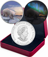2018 Polar Bear Northern Lights Arctic Animals $30 2OZ Silver Proof Coin Canada