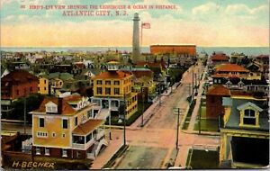 Postcard Birds Eye View Lighthouse and Ocean in Atlantic City New Jersey~139288