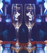 Personalised Engraved BRIDE GROOM Mickey Mouse Characters Champagne Flutes 43