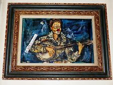 TEXTURED OIL PAINTING SIGNED PIERRE MAS CLOWN MUSICIAN PLAYING MANDOLIN - GUITAR