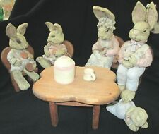"Usa Made ""Sarah's Attic"" 11 Piece Bunny Set Including Bench, Table, Chairs"
