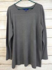 NWT PLUS SIZE Women's APT. 9 Gray SPARKLE Striped TEXTURED Classic Sweater - 2X