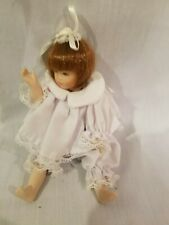 """All PORCELAIN DOLL GIRL Miniaturize 6"""" Red Hair Lace Trim R Leg needs reattached"""