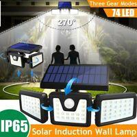 3 Head Outdoor 74 LED Solar PIR Motion Sensor Wall Flood Light Garden Lamp US
