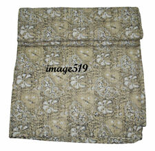 Vintage Hand Block Beige Kantha Quilt Handmade Cotton Bedspread Throw Blanket
