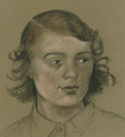 Mid 20th Century Charcoal Drawing - Head Study of a Girl