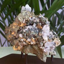 Pyrite Cluster Fluorite White Calcite Crystal Quartz Gemstone Specimen W/Stand