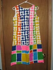 New listing Vintage 1960s Miss Elaine Colorful Artsy Floral Block GoGo Boot Dress Gold Label