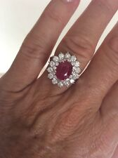2.45 Ct Ruby And 1.25 Ct Diamond Ring GRA Cert Value $12,999