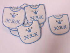 Set of 10 Embroidered New Baby Boy Bib H.R.H Card Making Motifs Patches #2A74