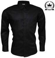 Relco Mens Black Long Sleeve Oxford Button Down Cotton Vintage Mod Skins Shirt