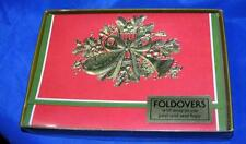 VTG 1970S BOX XMAS CARDS iob 12 FOLD OVER BLANK CARDS RED GREEN W GOLD EMBOSSING