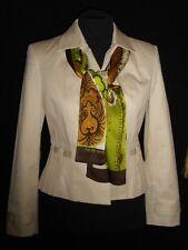 USA 6P Petite Sophisticate Khaki Crop Jacket & Harve Benard Brown Silk Scarf