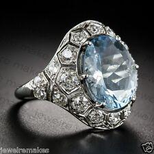 Vintage Light Aqua Oval Diamond Art Deco Wedding Engagement Sterling Silver Ring