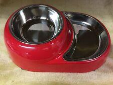 Doppio rosso in acciaio inox rimovibili per cane acqua o cibo ciotola & Dish UK