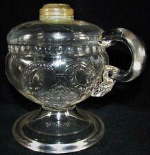 Antique Wheat In Shield EAPG Clear Glass Oil / Kerosene Footed Hand Lamp 1871