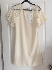 New Asos Paper Dolls Flare Dress With Lace Sleeves Size 4 Cream Color