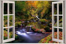 Cheap 3D Window view Enchanted Waterfall River Wall Sticker Decal Wallpaper S66