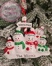 Personalised Christmas Tree Hanging Decoration Reindeer Tree Snowman Family Gift
