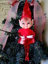 VINTAGE RARE ELF/PIXIE FAT CHEEKS & POINTED EARS RED LAMA OUTFIT XMAS ORNAMENT