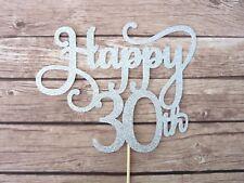 Happy 30th Cake Topper - Silver Glitter Thirty birthday topper, 30 cake decor