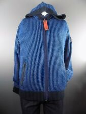 Men's Striped Quilted Lining Warm Zip Up Hoodie Cardigan Jacket Black Blue L XL