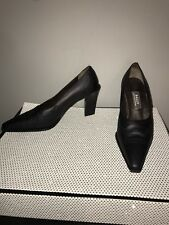 Bally Black Leather Pointed Oxford Heels Size 6.5