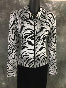 BEAUTIFUL St John collection jacket knit black white suit blazer size 6