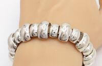 925 Sterling Silver - Vintage Shiny Polished Dome Link Chain Bracelet - BT1850