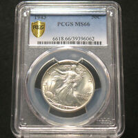 1943 U.S. Silver Walking Liberty Half Dollar 50c PCGS MS66 90% Silver