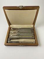 Vtg HMQ Quackenbush Nut Cracker & Pick Set In Wooden Original 4 x 6 hinged Box