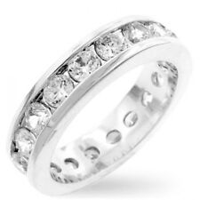 14K White Gold GB Eternity 2.10ct Simulated Diamond Size 5 Wedding Band Ring G84