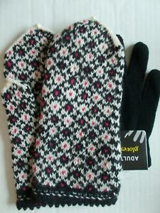 Latvian hand knitted 100%wool mittens, black/white/pink (size L) + inner gloves