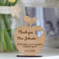 Personalised Teacher's Keepsake Wooden Ornament Apple With Stand, Teacher Gifts