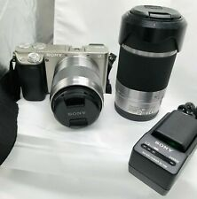 Sony Alpha a6000 - Silver 24.3MP Mirrorless Digicam w/50mm & 55-210mm Lenses