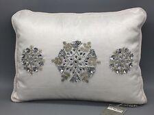 Kim Seybert Snowflake Pillow White Silver Beaded Sequin Jewel Christmas Luxury