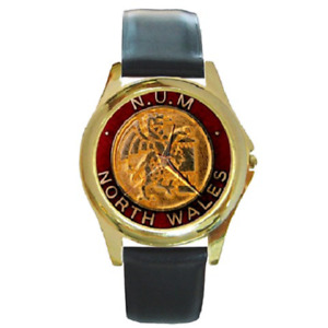 NUM MINERS WALES WATCH - Leather strap Great Gift Item MINE WORKERS
