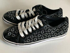 NEW! GUESS GOODLY SIGNATURE BLACK LOGO PRINTED CANVAS SNEAKERS SHOES 6.5 37 SALE