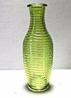 Vtg Mid-Century Pressed Glass Vintage Vase Green Ribbed Pattern 8.5 Inches Tall