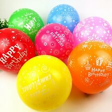 "25pcs 12"" Mixed Color ""Happy Birthday"" Printed Latex Balloons Celebration Party"