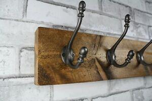 Victorian Wooden Coat Rack Vintage Handmade Cast Iron Hook Coat Hooks