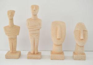 Cycladic Art Idol-Head Set of 4 statues -Beautiful Sculpture - Ancient Greek Art